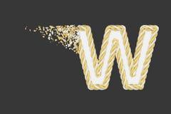 Splittra illustrationen för raster för bokstavsW 3D den realistiska Vriden bokstav med explosioneffekt på mörk bakgrund royaltyfri illustrationer