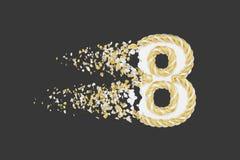 Splittra illustrationen för raster 3D för nummer 8 den realistiska Vridet nummer med explosioneffekt på mörk bakgrund stock illustrationer
