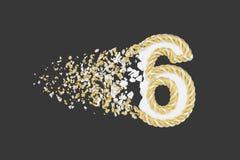 Splittra illustrationen för raster 3D för nummer 6 den realistiska Vridet nummer med explosioneffekt på mörk bakgrund royaltyfri illustrationer