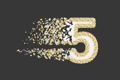 Splittra illustrationen för raster 3D för nummer 5 den realistiska Vridet nummer med explosioneffekt på mörk bakgrund royaltyfri illustrationer
