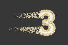 Splittra illustrationen för raster 3D för nummer 3 den realistiska Vridet nummer med explosioneffekt på mörk bakgrund vektor illustrationer