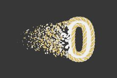 Splittra illustrationen för raster 3D för nummer 0 den realistiska Vridet nummer med explosioneffekt på mörk bakgrund royaltyfri illustrationer