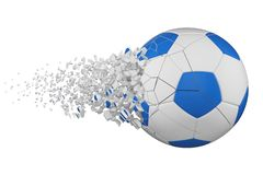 Splittra illustrationen för raster för fotbollboll 3D den realistiska Fotbollboll med explosioneffekt vektor för bild för designe royaltyfri illustrationer