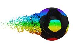 Splittra illustrationen för raster för fotbollboll 3D den realistiska Fotbollboll med explosioneffekt vektor för bild för designe vektor illustrationer