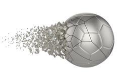 Splittra illustrationen f?r raster f?r fotbollboll 3D den realistiska Fotbollboll med explosioneffekt Isolerad designbest?ndsdel stock illustrationer