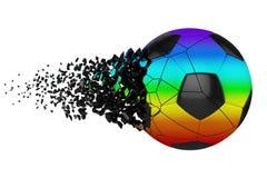 Splittra illustrationen f?r raster f?r fotbollboll 3D den realistiska Fotbollboll med explosioneffekt Isolerad designbest?ndsdel vektor illustrationer