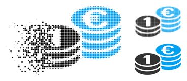 Splittrad Dot Halftone One Euro Coins symbol vektor illustrationer