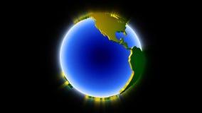 Splittrad glansig jord som roterar, ögla efter partikelavslutning, materiellängd i fot räknat vektor illustrationer