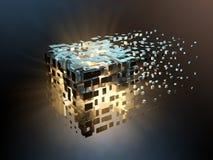 Splittrad kub stock illustrationer
