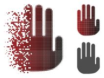 Splittrade Dot Halftone Stop Hand Icon vektor illustrationer