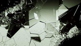 Splittrade eller spruckna exponeringsglasstycken på svart Arkivbilder