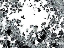 Splittrat eller demolerat exponeringsglas över vit Arkivbilder