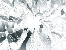 Splittrat eller demolerat exponeringsglas över vit bakgrund Royaltyfri Fotografi