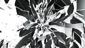 Splittrat exponeringsglas på vit med rörelsesuddighet Fotografering för Bildbyråer