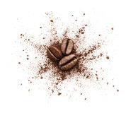 Splittrat kaffepulver Royaltyfria Bilder
