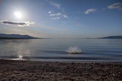 Sploosh! Wielki kamień rzuca up kiść Stuart jezioro, BC obraz stock