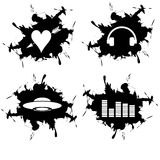 Splotch in black. Splotch and embedded heart ufo headphones and equalizer Royalty Free Stock Photos