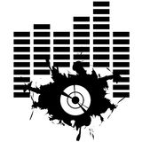 Splotch in black with equalizer. And gramophone record Royalty Free Stock Image