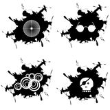 Splotch in black. Glasses which are the target of skull rings Royalty Free Stock Photography