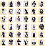 Splotches with african masks. Multicolored splotches with black african masks. Available as Illustrator-file Stock Photos