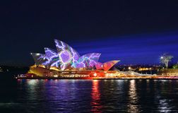 Splotches of colours on Sydney Opera House Vivid Royalty Free Stock Images