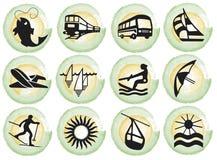 Splotches with tourism symbols. Blue gradient brush splotches with black tourism symbols. Available as Illustrator-file Stock Photo