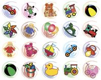 Splotches with toys Stock Photo