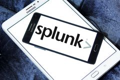 Splunk company logo. Logo of Splunk company on samsung mobile. Splunk is an American multinational corporation that produces software for searching, monitoring Royalty Free Stock Images