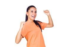 Spännande ung flicka som ler med lyftta händer Royaltyfria Foton
