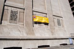 Społeczeństwo dla Etycznej kultury, Wyobraża sobie przyszłość napad z bronią w ręku Swobodnie, NYC, NY, usa Obraz Stock
