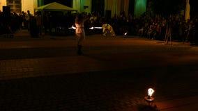 Społeczeństwo ogienia przedstawienie organizujący w Timisoara, Rumunia zdjęcie wideo