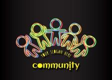 Społeczność logo Ogólnospołeczni sieć środków loga ludzie Iryzuje stubarwne zarysowane sylwetki ludzie ilustracja wektor