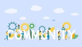 Społeczność ludzie z Biznesową pozycją blisko słowa ilustracja wektor