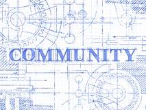 Społeczność wykresu papieru Techniczny rysunek ilustracja wektor