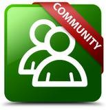 Społeczności grupowej ikony zieleni kwadrata guzik Zdjęcie Stock
