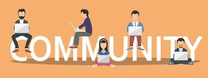 Społeczności pojęcia ilustracja młodzi ludzie używa laptopy jako część społeczności internetowej Płaski projekt ludzie na listu s ilustracja wektor