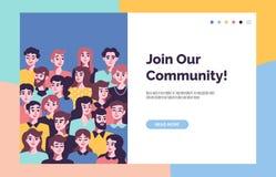 Społeczności pojęcie z męskimi i żeńskimi avatars ilustracji