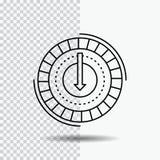 Spożycie, koszt, koszt, obniża, zmniejsza, Kreskową ikonę na Przejrzystym tle Czarna ikona wektoru ilustracja ilustracja wektor