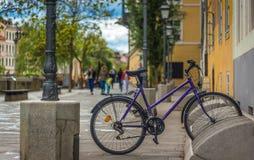Spoczynkowy rower Ljubljiana obraz royalty free