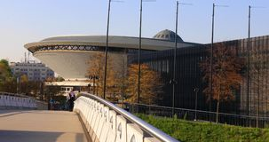 Spodek sports and concert hall in Katowice, Poland stock video footage