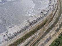 Spodlone krajobrazowe kopaliny minują w południe Polska Zniszczona ziemia Obrazy Stock