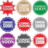Spoedig komend geplaatste tekens, spoedig komend stickerreeks, vector illustrat Stock Afbeelding