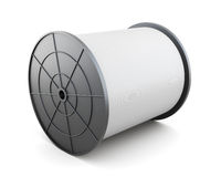 Spoel met kabel op witte achtergrond wordt geïsoleerd die 3d geef image Royalty-vrije Stock Afbeeldingen