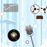 Spoel om Retro Muziek Bkg te registreren Stock Foto's
