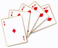 Spoel van Rode Diamantenspeelkaarten afzonderlijk royalty-vrije illustratie