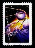 Spoetnik 1957, Ontploffing weg - 50 jaar in ruimte serie, circa 2007 stock afbeeldingen