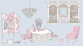 Spogliatoio, modo, rosa blu Fotografia Stock
