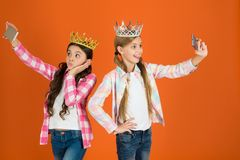 Free Spoiled Children Concept. Egocentric Princess. Kids Wear Golden Crowns Symbol Princess. Warning Signs Of Spoiled Child Royalty Free Stock Images - 139327929