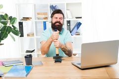 Spoiled communication. Failed mobile negotiations. Most annoying thing about work in call center. Incoming call. Stressful job at call center. Man bearded guy royalty free stock image