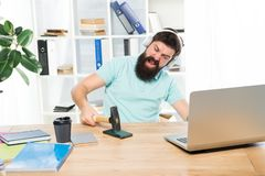 Spoiled communication. Failed mobile negotiations. Most annoying thing about work in call center. Incoming call. Annoying client calling. Man bearded guy stock photography